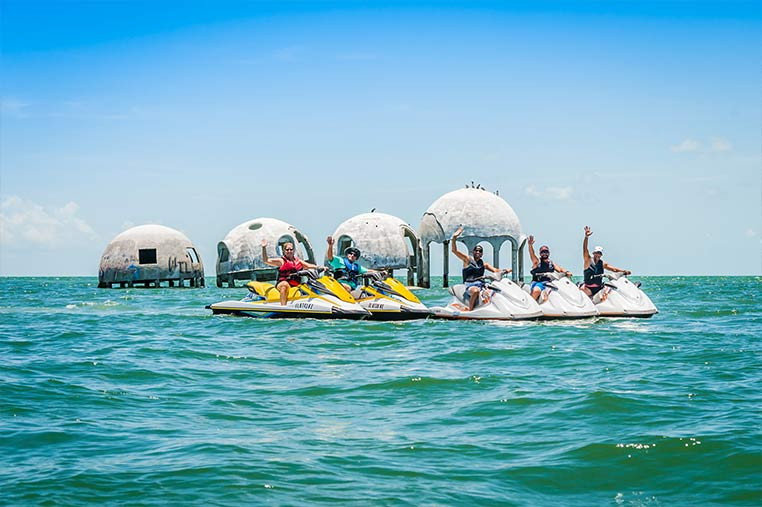 Group of friends having fun on our Jet Ski tour of Marco Island | Florida Adventures and Rentals