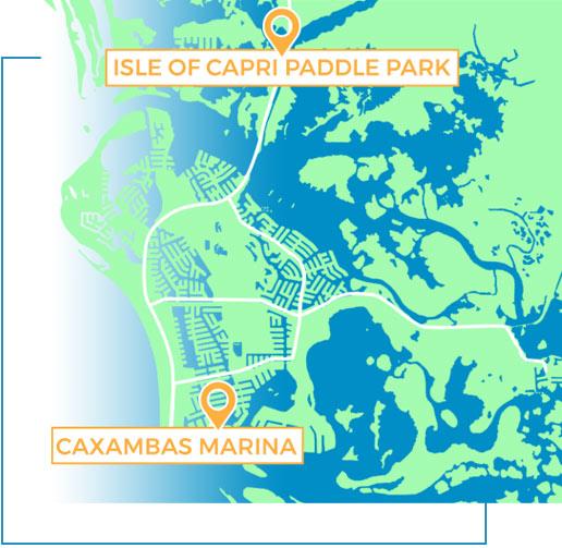Caxambas Marina and Isle of Capri Paddle Park Map   Florida Adventures and Rentals