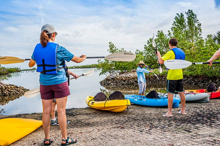Kayak Guides giving safety instructions before a Guided Kayak Tour of Marco Island | Florida Adventures and Rentals